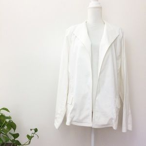 Eileen Fisher White Linen Open Jacket Blazer 2X